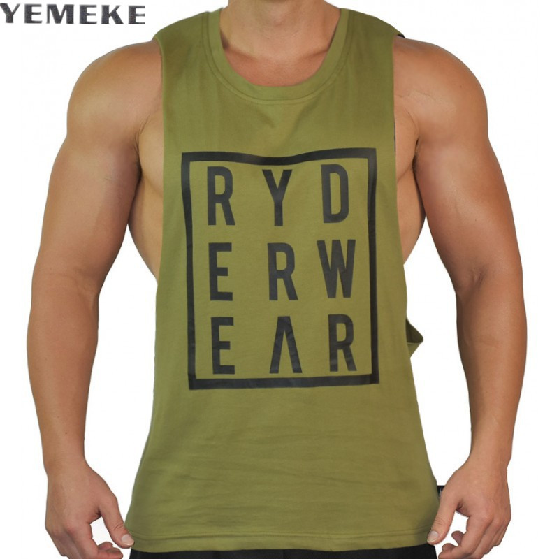 YEMEKE New Brand mens bodybuilding   tank     tops   cotton men Sleeveless Casual vest Men Fitness Casual Clothing 4 Color