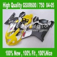 Amarillo negro para SUZUKI GSXR 600 K4 GSX-R600 GSX-R750 04 05 GSXR600 04 05 carenados GSXR 750 K4 2004 2005 kits Del Carenado partes