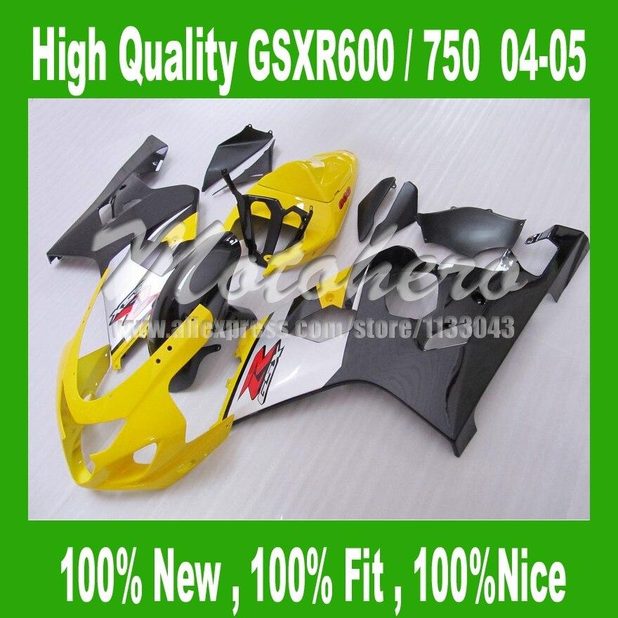 GSX-R600 yellow black for SUZUKI GSXR 600 K4  GSX-R750 04 05 GSXR600 04 05 GSXR 750 K4 2004 2005Fairing kits  fairings parts