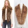 VENTA CALIENTE Extra larga Faux Fox Cuello de Piel Bufanda de Cuello Chal Bufandas del abrigo de La Estola de Las Mujeres CUATRO COLORES