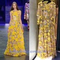 Супер трудоемких вышивка 3D цветок вечернее платье женские платья партии Удивительные платье макси Роскошные длинное платье
