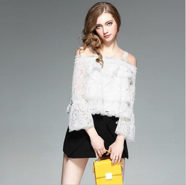 New Summer White Cotton Blouse Women High Quality Clothing  Free Shipping AW739YIFAN9