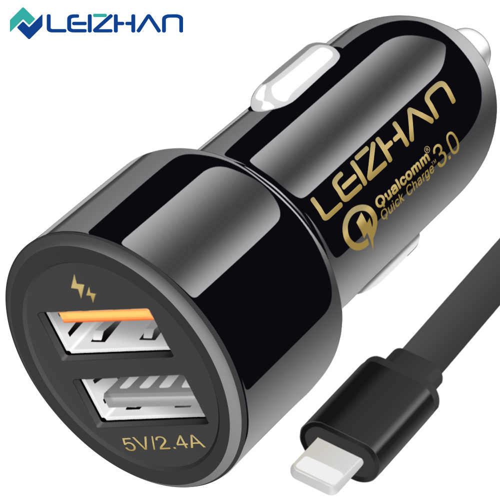 LEIZHAN 3.0 Phone Car Charge 30W Dual usb Car Chargers PowerDrive for iphone x/8/7 plus/iPad/Samsung Galaxy and More Devices