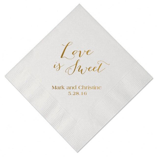 set of 100 personalized napkins custom table napkin paper wedding