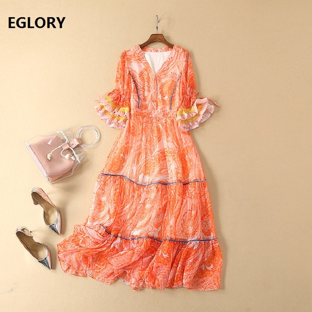 New 2019 Spring Fashion Runway Dress Women V-Neck Chic Print Flare Sleeve Large Swing Party Casual Bohemian Dress Orange Color