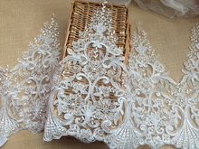 30CM Width Organza mesh wedding veil car embroidery lace ivory wedding dress lace trim wedding veil accessories