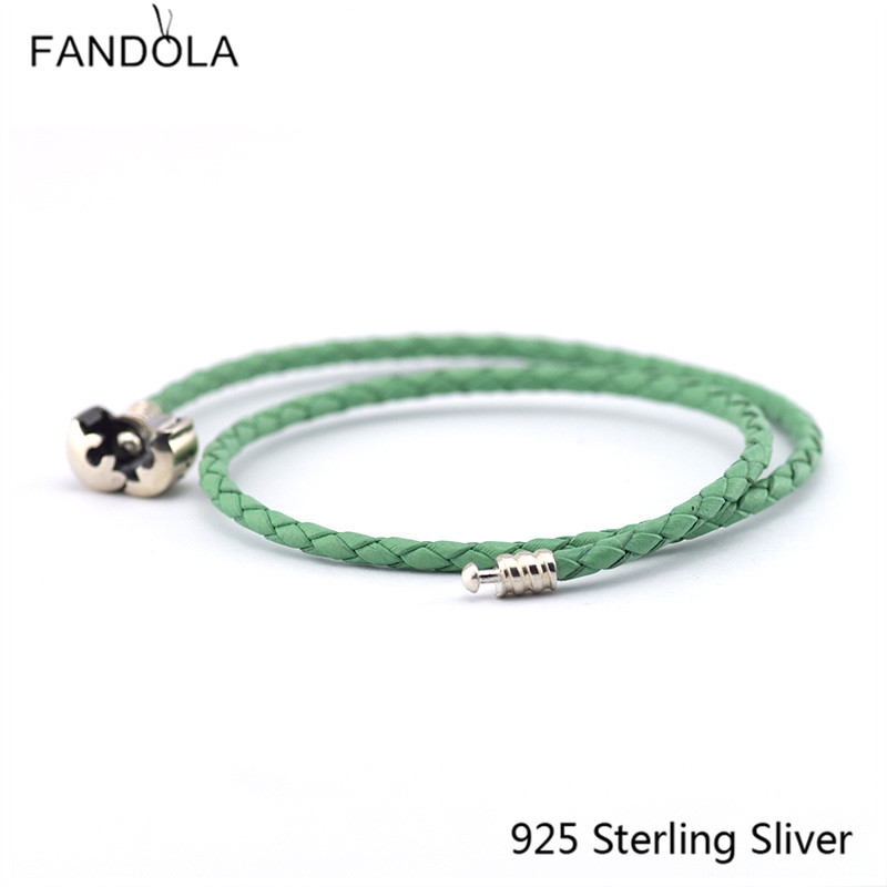 CKK 925 Sterling Silver Clasp Clip Green Chain Leather Bracelets - Fine Jewelry - Photo 2