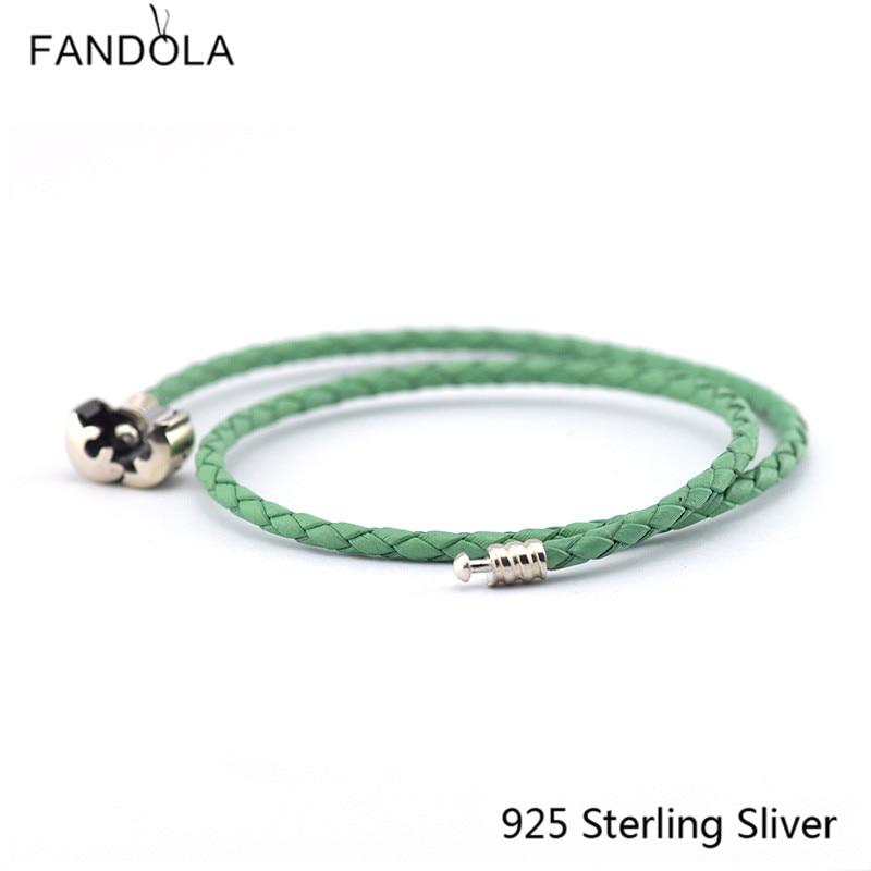 CKK 925 ezüst kapocscsipesz zöld lánc bőr karkötők ékszerek - Finom ékszerek - Fénykép 2
