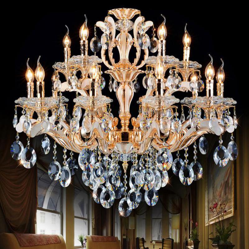 Accueil lustre doré éclairage pour bâtiments Duplex hall hall d'entrée italie conçu Art studio café lustres en cristal candélabre