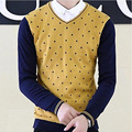 High Quality Polka Dot V-Neck Pure Cotton Cableknit Sweater Men Fashion Contrast Color Knitting Sweater Size M sueter hombre