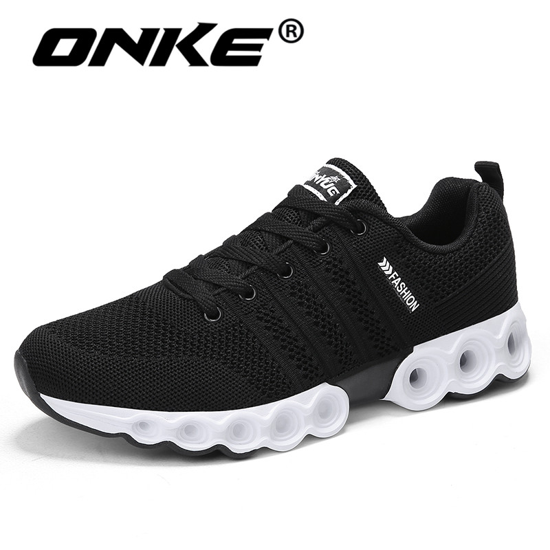 Onke Breathable Black Sneakers for Men Lace Up Running Men Shoes Damping Sports Gym Trainers Outdoor Jogging Shoes