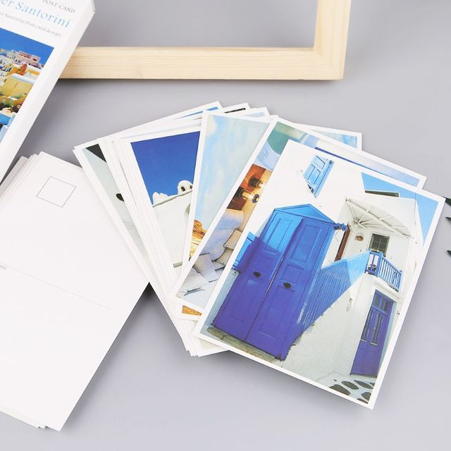 Christmas Gift Card Poster.Us 3 32 24 Off 30 Sheets Santorini Paintings Retro Vintage Postcard New Year Christmas Gift Card Wish Poster Cards In Letter Pad Paper From Office