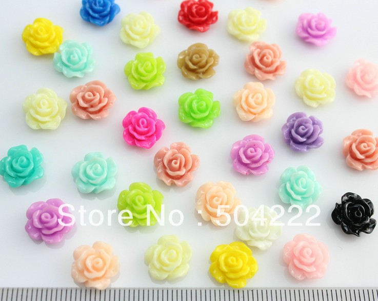 50pcs Kawaii Mini Rose Flower Resin Floral Cameo Gem Flatback Cabochon Cab Nail Art 11mm Lovely Resin Rose