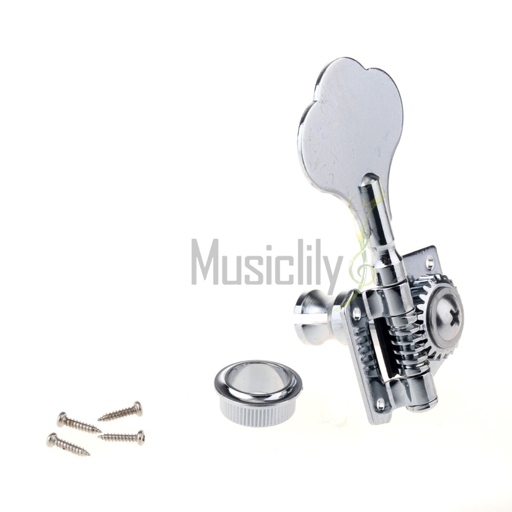 Musiclily Multiple Color Individual Bass String Open Gear Tuner Tuning Peg Key Machine Head For Right/Left Hand, Chrome/Black sews alice aos 020b1p 2pcs left right classical guitar tuning key plated peg tuner machine head string tuner