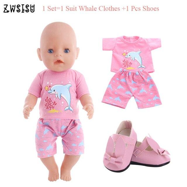 Boneca roupas 7 estilos 1 conjunto = livre 1 terno roupas + 1 sapatos prs para 18 Polegada boneca americana & 43 cm boneca nascida para a geração da menina