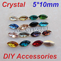 Alta calidad 5 x 10 mm 10 unids/lote forma marquesa Pointback cristales abalorios diferentes colores para elegir Fancy Stones Navette
