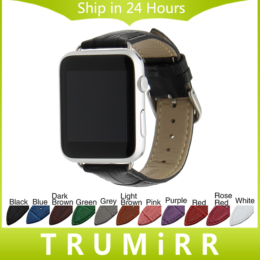 Genuine Leather Watchband Croco Strap + Adapter for 38mm 42mm iWatch Apple Watch Band Wrist Belt Bracelet Black Brown Red White 18mm genuine leather watchband tool for huawei watch women s smartwatch band wrist strap plain grain belt bracelet black brown