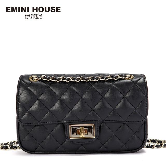 EMINI HOUSE Diamond Lattice Genuine Leather Shoulder Bag Women Messenger Bags Luxury Fashion Chain Bag Mini Crossbody Bags