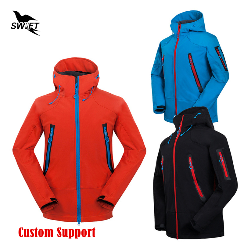 HOT Custom logo 2019 Waterproof Hooded Softshell Jacket Men Winter Thermal Tech Fleece Hiking Clothing Ski
