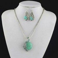 S121 Pauw Crystal Natuurlijke Ketting Hanger & Earring Jewlery Set, vrouwen Gift, Vintage Look, Tibet Legering, groothandelaar