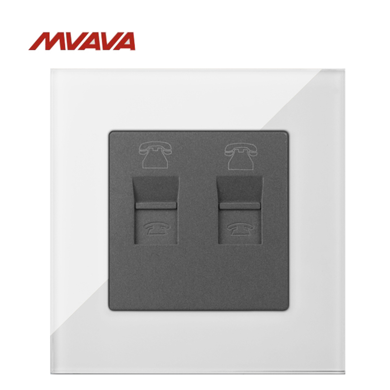 MVAVA Double Tel RJ11 Jack Plug Wall Decorative Socket Dual Telephone Receptacle Luxury White Crystal Outlet Free Shipping in Electrical Sockets from Home Improvement