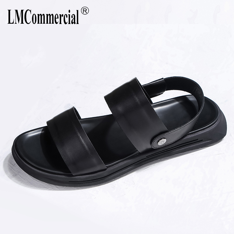 Mens beach shoes soft bottom Genuine Leather casual sandals Sneakers Men Slippers Flip Flops outdoor all-match cowhide male