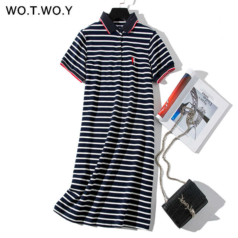 WOTWOY 2019 Striped Cat Embroidery Dresses Women Summer Long Turn-down Collar Casual Knee-Length Dress Woman Plus Size Clothes