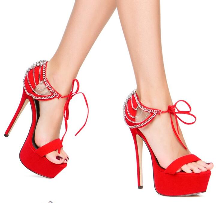 2018 New Fashion Red Suede Leather Women High Platform Sandals Sexy Open Toe Rhinestone Straps Ladies Lace Up High Heels summer new fashion cross tied lace up straps women black leather sandals sexy open toe zipper back chunky heel sandals