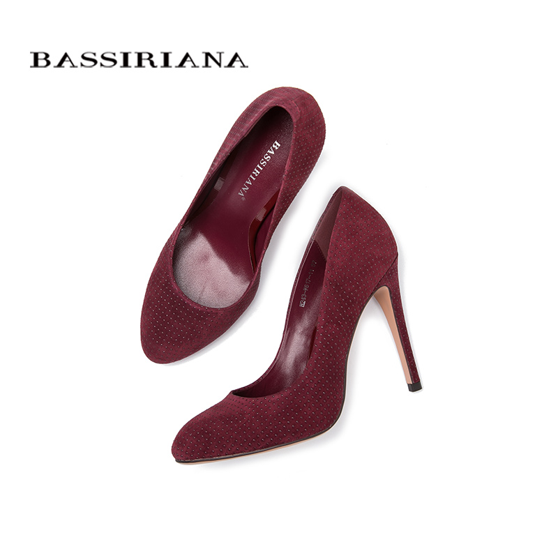 Genuine leather pumps 2017 High heels shoes womanThin heel women shoes 35-40 Round Toe Fashion shoe Free shipping BASSIRIANA