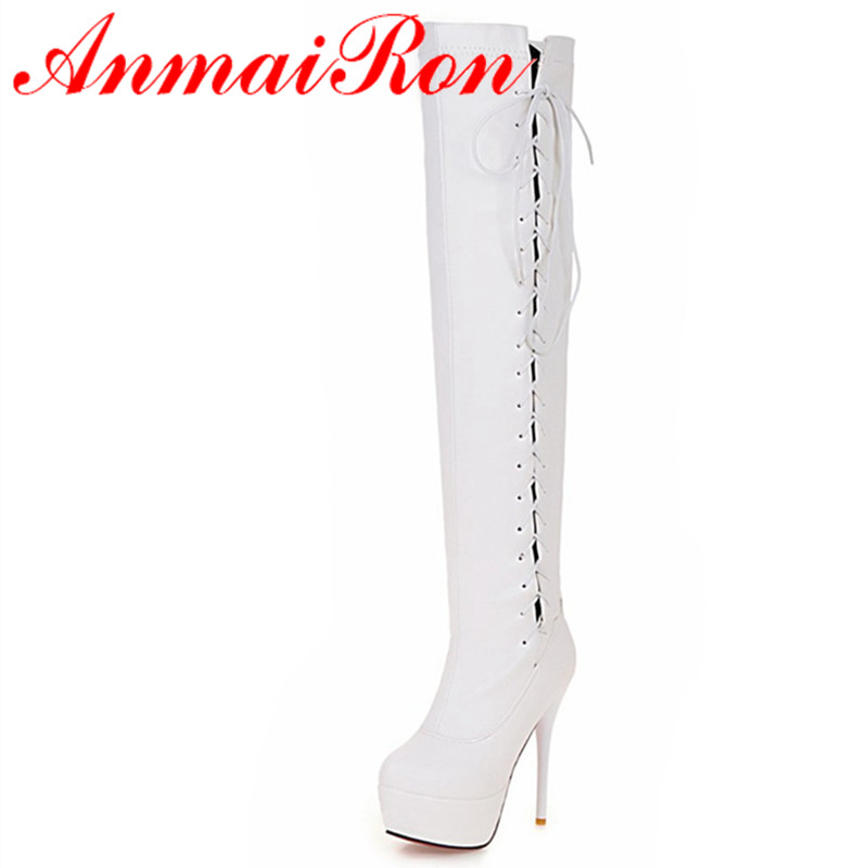ФОТО ANMAIRON White High Heels Winter Warm Boots for Women Large Size 34-43 Platform Round Toe Thin Heels Lace-up  Knee-high Boots