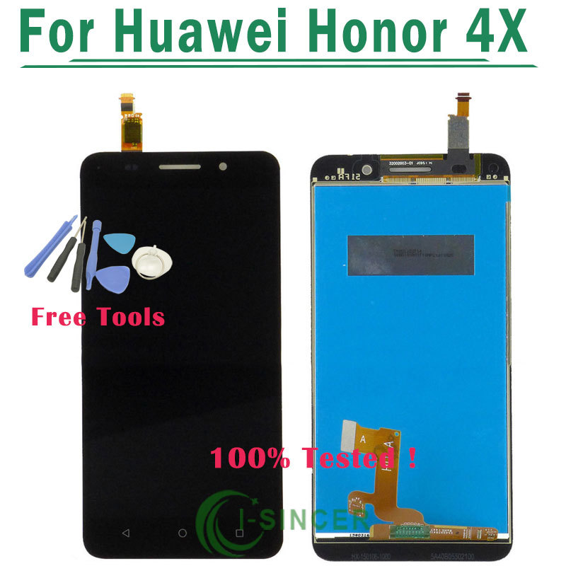 1/PCS Tested Black gold For HuaWei Honor 4X LCD Dispaly With Touch Screen Glass Panel Digitizer Assembly + Tools Free Shipping
