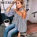 MCCKLE женская мода блузка рубашки slash nevk с плеча полосы печати фонарь рукав blusas сексуальная топы повседневная Одежда