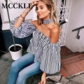 MCCKLE  fashion women blouse shirts slash nevk off the shoulder strips print lantern sleeve blusas sexy tops casual Wear