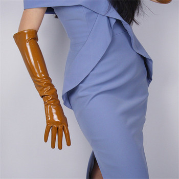 Patent Leather Long Gloves 50cm Long Section Emulation Leather Bright Glossy Mirror Bright Leather Bright Brown Caramel WPU85 bright