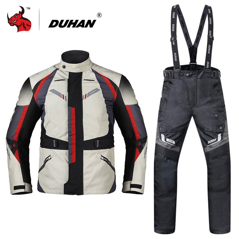 DUHAN Hommes Moto Veste Moto Automne Hiver Touring Vêtements Costume Imperméable Froid à l'épreuve Moto Pantalon Ensemble Équipement De Protection