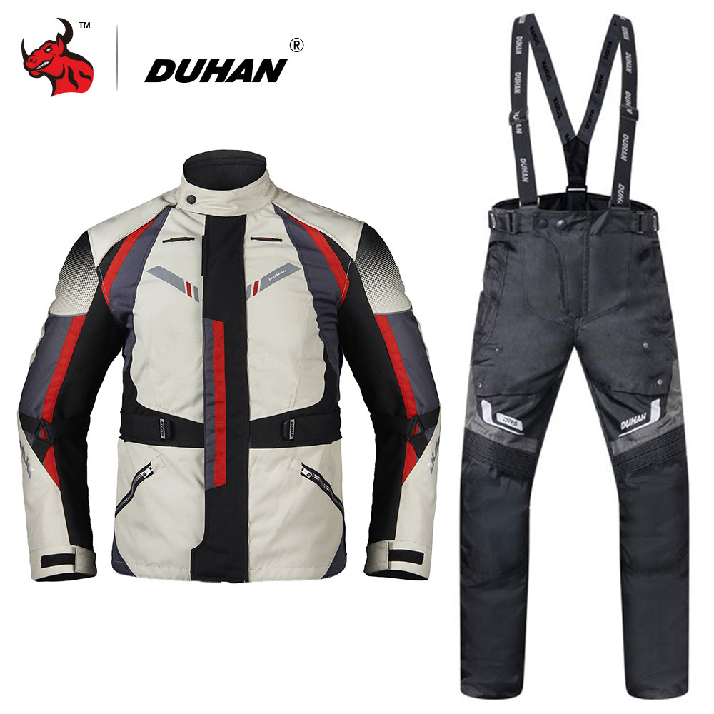 DUHAN Men Motorcycle Jacket Moto Autumn Winter Touring Clothing Suit Waterproof Cold-proof Motorcycle Pants Set Protective Gear scoyco waterproof riancoat suit reflective motorcycle clothing protective jacket waterproof moto jacket and motorcycle pants