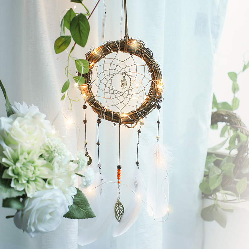 Home Decor Wind Chimes & Hanging Decorations Honest Handmade Rattan Circle Dream Catcher Net With White Feathers Tree Of Life Wedding & Bar & Home Wall Hanging Dreamcatcher Amor080 Buy One Give One