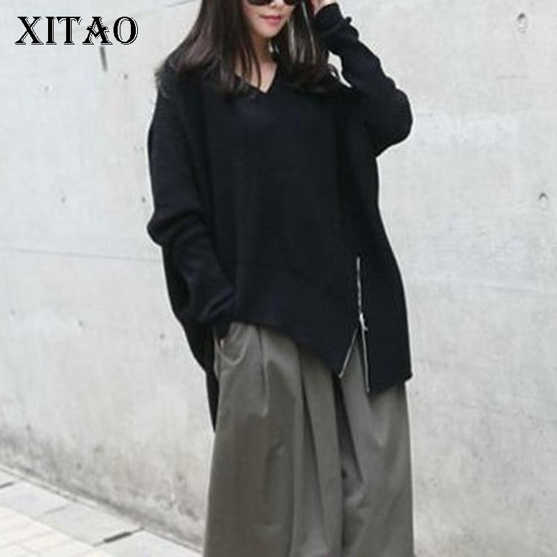 XITAO Harajuku Plus Size Knit Sweater Casual V Neck Long Sleeve Irregular Patchwork Zipper Korean Fashion Autumn New CXB792