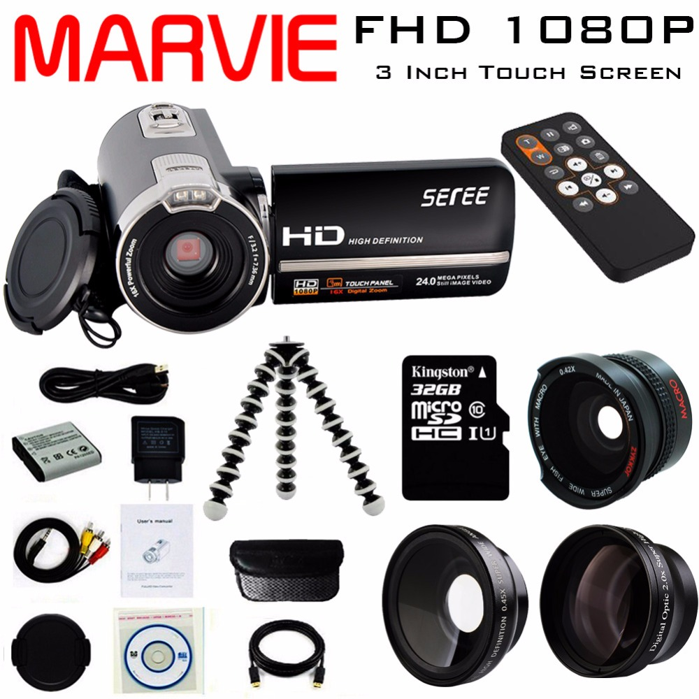 Marvie 3.0 LCD Touch Screen 24MP Remote Control Video Camera 1080P FHD Camcorder Recorder DV Night-Shot 16X Digital Zoom 302S