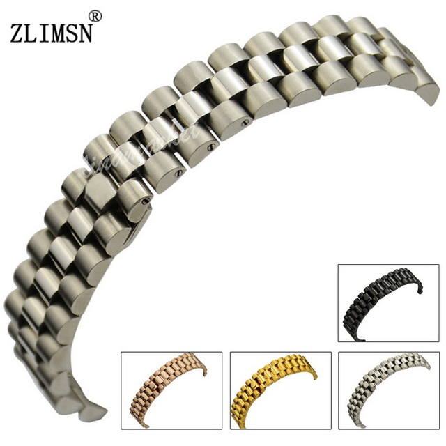 Steel Watchband 13mm 20mm Solid 316L Stainless Steel Silver/ Black/ Gold/ Rose Gold 3 Links Watch Bands Curved End Bracelets