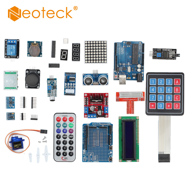 цена на Neoteck Professional Learning Kit UNO R3 Starter Kit for Arduino LCD Compass Gyro DIY With 1602 LCD I2C module Set Wholesale