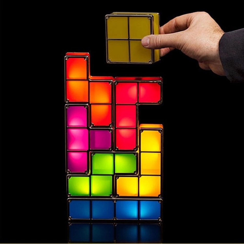 New DIY Tetris Puzzle Night Light Creative Stackable LED Desk Lamp Constructible Block Lamp Retro Game Tower Colorful Brick Toy цены