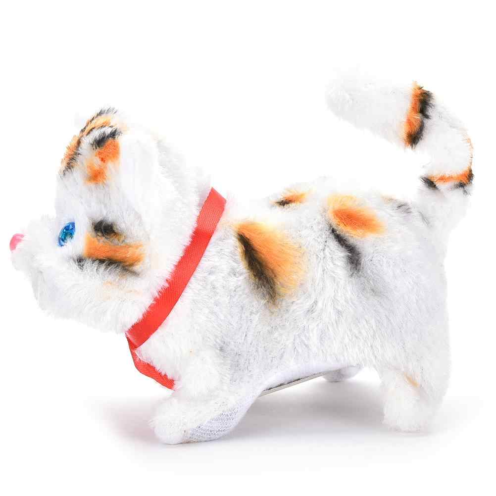 1 pc 전기 고양이 장난감 귀여운 소리 산책 플러시 전자 애완 동물 어린이 키즈 교육 장난감