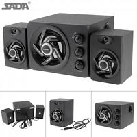 SADA Wooden Full Range 3D Stereo Subwoofer 2.1 PC Speaker Portable bass Music DJ USB Computer Speakers For laptop Phone TV