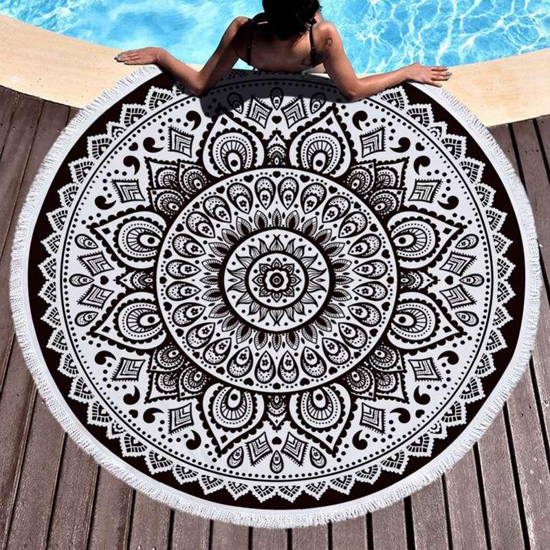 Tapestry Beach Towel Tassel Mandala round fringed beach towel Sunblock Round Bikini Cover-Up Blanket Lotus Bohemian Yoga Mat