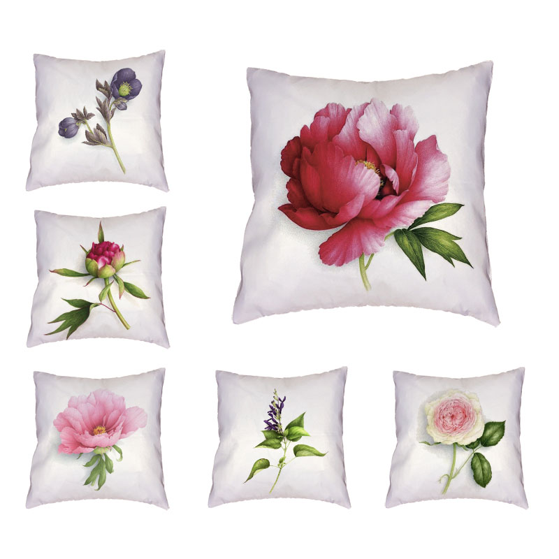 Beautiful Flower Cushion Cover Light Purple Leaves 45*45Cm