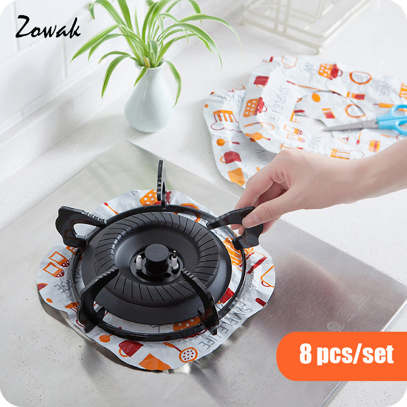8pcs Aluminum Foil Square Gas Burner Bibs Protectors Disposable Liner Covers Stove Guard Easy Clean High-Temperature Resistant
