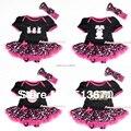 Infant Easter Bodysuit Hot pink Hearts Pettiskirt Baby Dress & HeadbandNB-12M MAJS0006