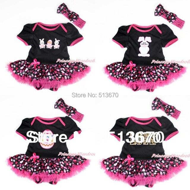 b5b6f565c Infant Easter Bodysuit Hot pink Hearts Pettiskirt Baby Dress ...