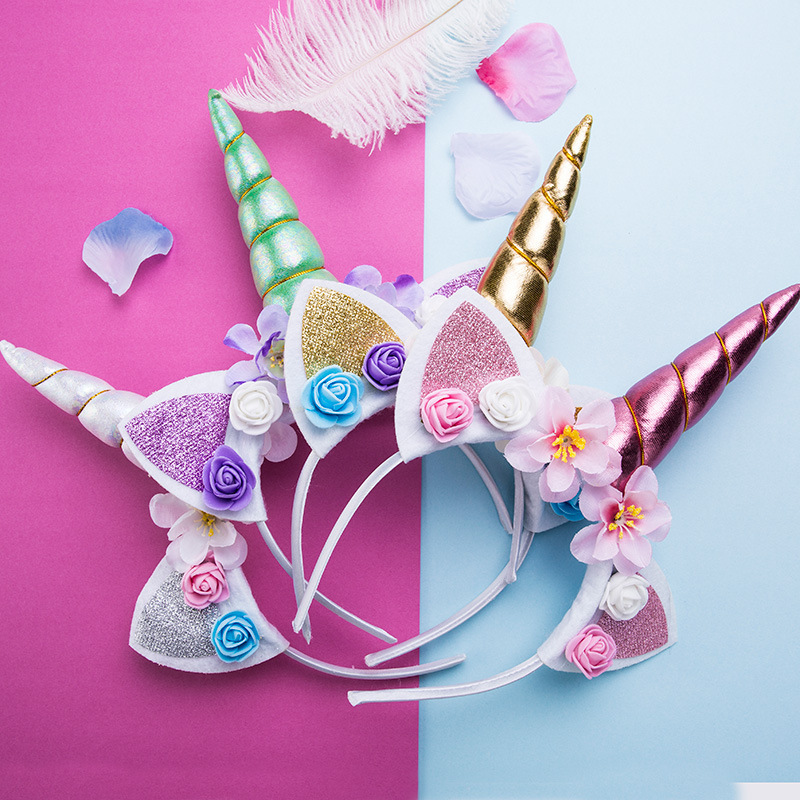 2019 New Brand Cute  Korean Kids Women Sweet Flower Cute Unicorn Headbands Children Headwear Props Party Gift Hair Accessories